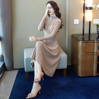 穿衣打扮新款潮流2019秋装新款韩版修身纯色圆领长袖收腰显瘦中长款连衣裙