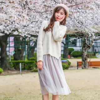 穿衣打扮新款潮流2019秋装新款女韩版吊带裙子两件中长连衣裙R