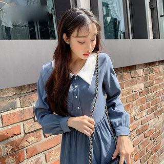 穿衣打扮新款潮流2019韩版秋装新款长袖高腰宽松中长款女连衣裙