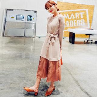 穿衣打扮新款潮流2019新款女装秋装韩版雪纺拼接针织百褶裙连衣裙