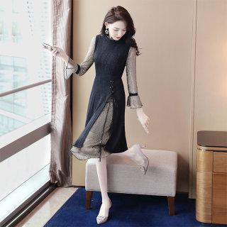 穿衣打扮新款潮流2019秋装新款女韩版遮肚子假两件套显瘦连衣裙