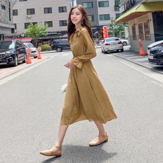 穿衣打扮新款潮流2019韩版女装秋装新款收腰碎花雪纺中长款连衣裙