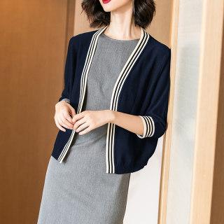 穿衣打扮新款潮流2019秋季新款气质针织衫拼接七分袖外套外搭针织开衫女