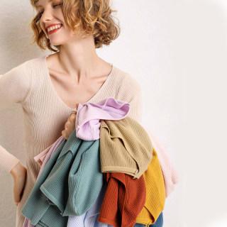 秋装新款针织陶虹同款15色v领针织衫女抽条大码显瘦