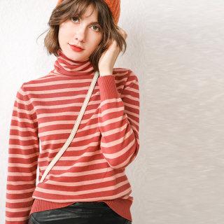 【休闲保暖 舒适优雅】秋装新款针织女士条纹针织衫