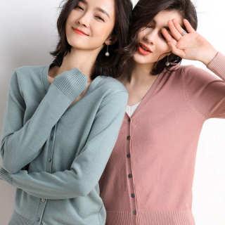 【百搭纯色简约V领】秋装新款开衫女针织衫长袖外搭小外套