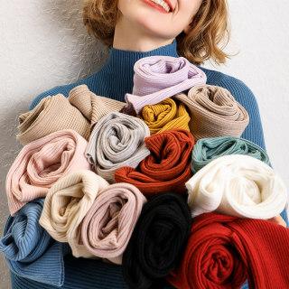 【秋装新款针织亲肤柔软】16色半高领抽条显瘦毛衣女大码百搭