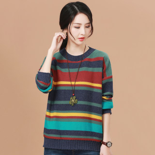 秋装新款针织韩版套头加厚打底毛衣女2019新款冬装长袖条纹宽松针织衫