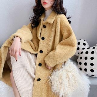穿衣打扮秋冬装新款仿水貂绒大衣外套女加厚宽松 2019新款很仙的冬装毛衣中长款开衫