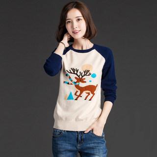 纯羊毛衫女韩版卡通毛衣圣诞小鹿圆领针织衫女套头长袖打底衫