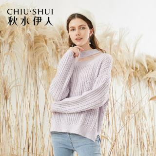穿衣打扮秋冬装新款针织衫2019年初秋新款女装气质纯色网纱拼接长袖针织衫