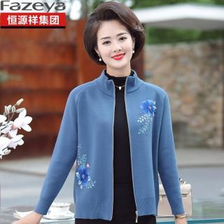 穿衣打扮秋冬装新款妈妈秋装针织开衫中老年女洋气新款羊毛衫中年春秋季短款刺绣外套