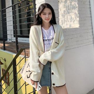 穿衣打扮秋冬装新款2019秋装新款女装韩版上衣宽松V领开衫针织衫