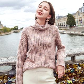 2019冬季新款高领宽松慵懒套头外穿毛衣长袖洋气时尚针织衫女