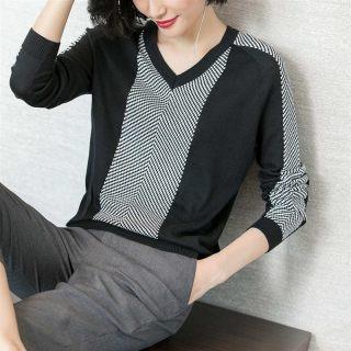2019春装新款时尚拼接薄款修身显瘦弹力打底衫黑色针织衫女