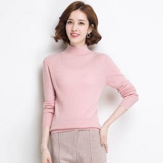高领毛衣女修身短款套头2019春秋款打底纯色百搭针织羊毛衫