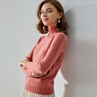 纯羊毛衫女7色秋冬高领短款套头半高领针织打底衫毛衣大码修身宽松显瘦