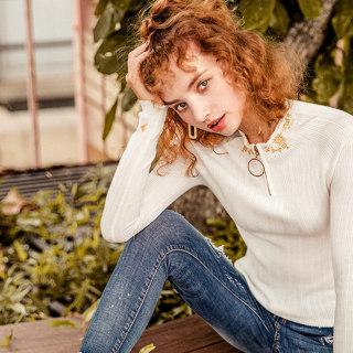 白色长袖针织衫女2019秋装新款纯色紧身韩版打底薄款毛衣上衣