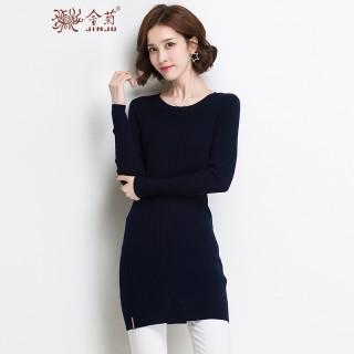 毛衣中长款女套头修身纯色显瘦针织打底衫新款百搭羊毛衫