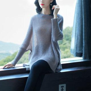 2019韩版秋装马海毛女气质女士中长款宽松薄款慵懒风毛衣潮