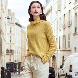 2019秋冬季新款全羊毛针织衫长袖薄款套头高领毛衣打底衫女潮
