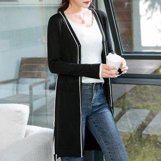 2019秋冬新款女士V领羊毛衫中长款开衫修身针织衫女毛衣外套