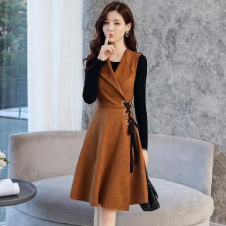 偏小一码秋新款女装韩版长袖连衣裙套装裙初春时尚两件套打底裙