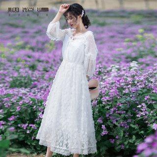 超仙白色连衣裙女2019秋新款女装时尚气质显瘦仙女裙