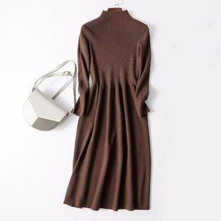 女款优雅简约通勤百搭半高领修身针织连衣裙