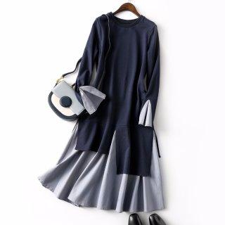 2019秋新款女款简约时尚圆领假两件女式连衣裙