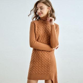 秋冬新款女装中长款纯澳洲羊毛衫衣裙女冬高领纯羊毛套头打底裙优雅气质过膝针织连衣裙