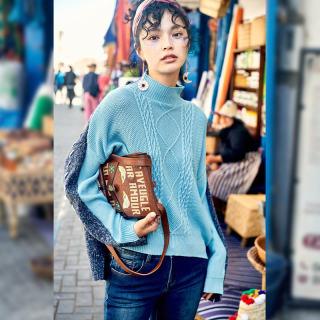 秋冬新款女装高领宽松毛衣女2019冬装新款拼接长袖韩版软奶蓝慵懒风针织衫