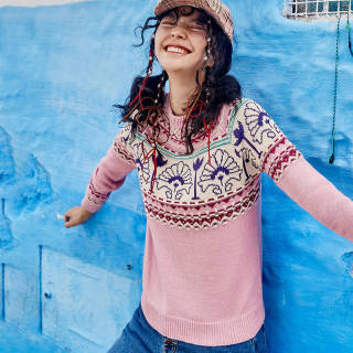 圆领长袖毛衣女2019冬季新款复古设计感粉色百搭显瘦毛线上衣