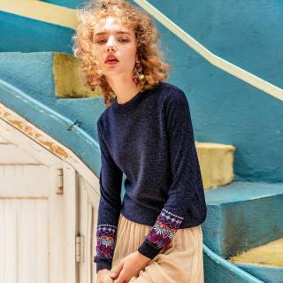秋冬新款女装长袖针织衫女2019秋季新款刺绣宽松学生外穿蓝色毛衣亮丝上衣