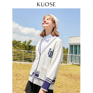 2019秋季新款韩版女学院风针织开衫宽松外套chic学生毛衣