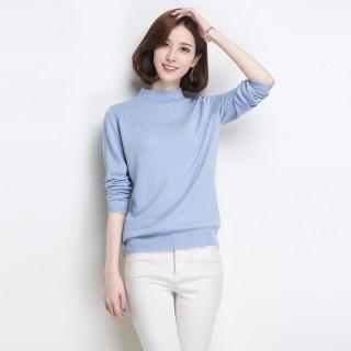 【半高领毛衣 贴合肌肤】秋冬新款女装羊毛衫女半高领套头宽松短款针织毛衣