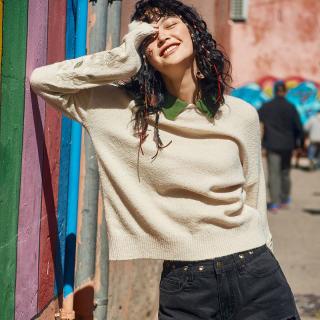 长袖套头毛衣女士2019冬季新款花朵刺绣慵懒风宽松毛线针织衫