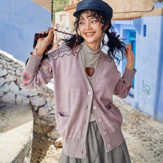 秋冬新款女装长袖针织开衫女士2019冬装新款波西米亚风刺绣宽松慵懒风外搭