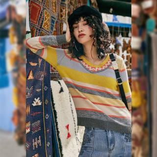秋冬新款女装v领宽松毛衣女士2019秋季新款糖果色长袖条纹套头外穿针织衫