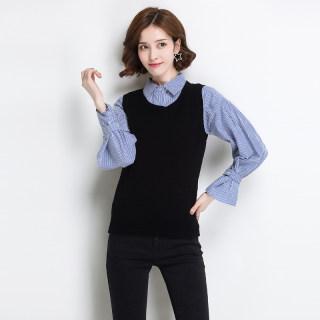 秋冬新款女装100%羊毛背心女外穿春秋百搭针织衫宽松短款马甲