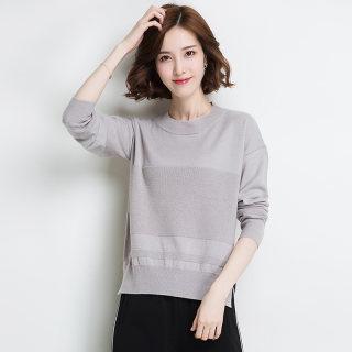 秋冬新款女装开叉毛衣女套头宽松前短后长100%纯羊毛衫时尚纯色圆领针织衫