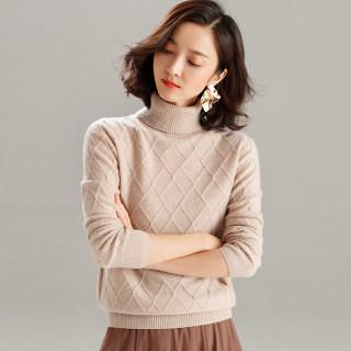 秋冬新款女装加厚套头羊绒衫女高领纯色羊毛衫慵懒宽松短款针织打底衫毛衣