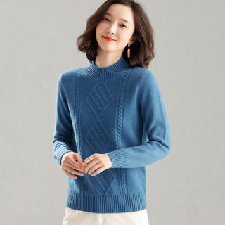 秋冬新款纯色山羊绒衫女半高圆领套头短款针织修身大码宽松薄毛衣