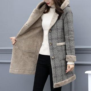 女款优雅通勤气质简约时尚百搭连帽大口袋装饰皮毛一体大衣外套