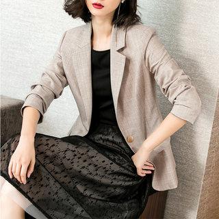 2019秋季新款英伦风气质竖条纹修身显瘦一粒扣小西装外套女