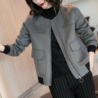 2019冬季新款气质减龄双口袋保暖毛呢夹克灰色棒球衣外套女