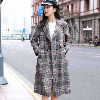 韩版时髦优雅复古格纹翻领长袖双排扣中长款保暖双面呢大衣