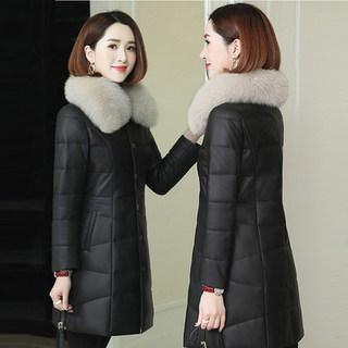新款海宁皮衣羽绒服女真皮绵羊皮皮草狐狸毛领中长款修身外套