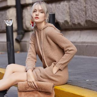 秋冬新款卫衣年羊毛卫衣女连帽中长款针织衫套头长袖2019新款毛衣外套宽松
