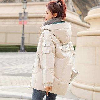 韩版新款2019冬女款韩版时尚撞色刺绣保暖短款女棉衣